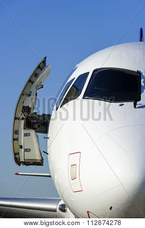 Plane with opened door