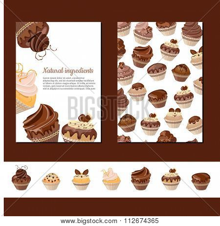 Template with chocolate muffins.   For your design, announcements, cards, posters, restaurant menu.