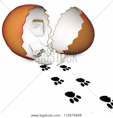 3D Chopped Egg And A Spoor Of The Bunny On A White Background