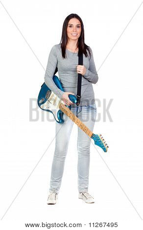 Attractive Girl With A Blue Electric Guitar