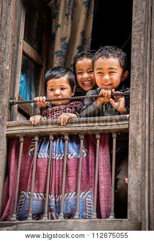 Happy Children In Bhaktapur, Nepal.