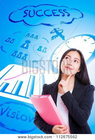 Asian Woman Has Many Ideas On Business Background.