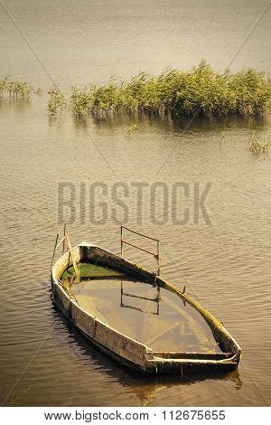 Abandoned sinking boat