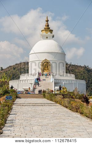 Pokhara Shanti Stupa Is A Buddhist Pagoda-style Monument On A Hi