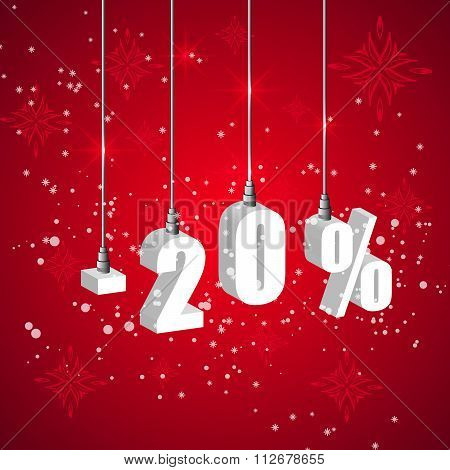 Holiday Winter Sale Discount Banner. Hanging 3D Bulb Digit Lights.