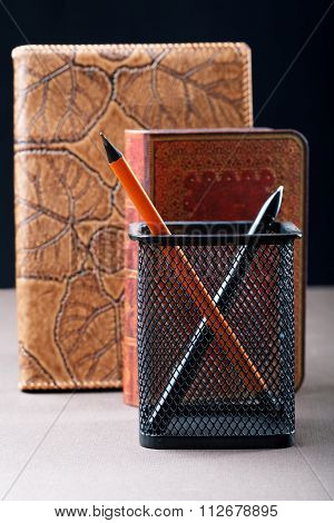 Pencil And Pen With Organizers In Leather Cover