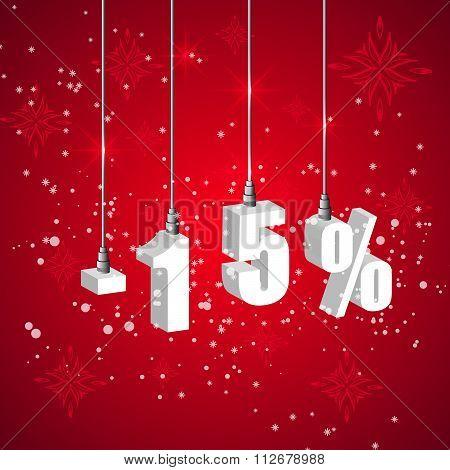 Holiday Winter Sale Discount Banner. Hanging 3D Bulb Digit Lights.