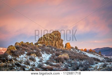 Devils Backbone rock formation at foothills of Rocky Mountains in northern Colorado near Loveland, winter scenery at sunrise