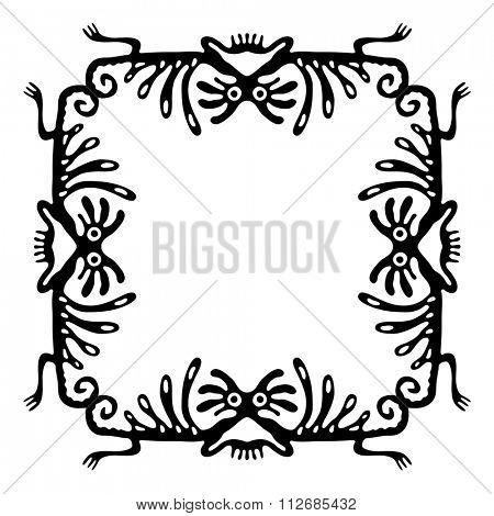 Black frame, design element with dragons or monsters, illustration