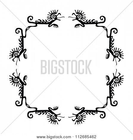 Black corners elements with dragons or lizards, illustration