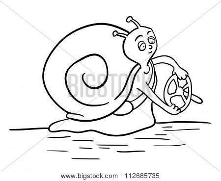 Cartoon Snail with a steering wheel, slow driver, illustration