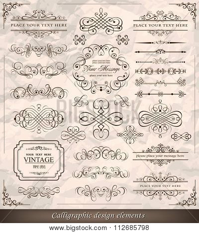 Vector illustration of calligraphic elements