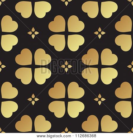 Gold Seamless Pattern With Clover Leaves