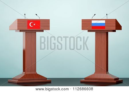 Wooden Podium Tribune Rostrum Stands With Turkey And Russian Flags