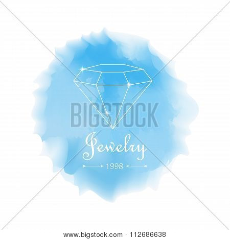 Diamonds Shapes On Blue Watercolor Background