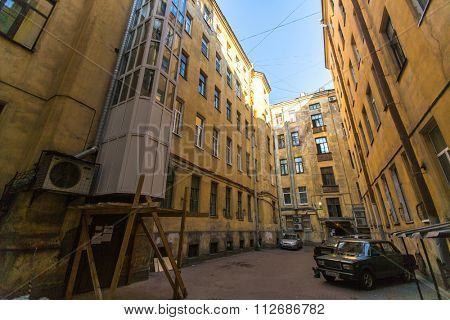 St.PETERSBURG, RUSSIA - SEP 11, 2015: View on a typical yard-well in the old district of the city. St. Petersburg was founded on 16 (27) may 1703 by Peter I.