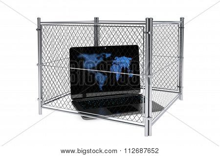 Laptop Inside A Wired Fence