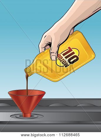 Pouring Motor Oil