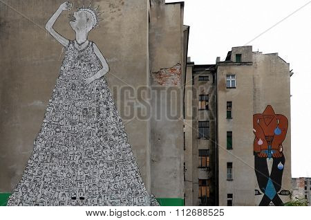 Street art on the wall of a building in Wroclaw