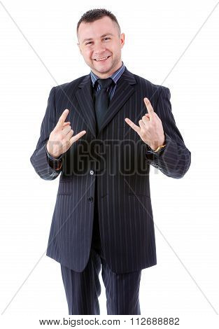 Portrait Of Smile And Happy Businessman Showing Cool Gesture, Isolated On White.