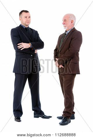 Young And Old Senior Two Businessman In Suits Posing. Isolated On White Background,