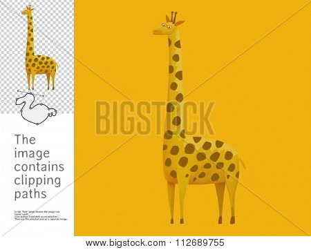 The illustration of the toy giraffe.  A part of Dodo collection - a set of educational cards for children. The image has clipping paths and you can cut the image from the background.