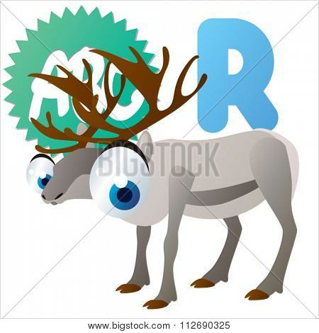 vector cartoon comic animals ABC for kids: R is for Reindeer / Illustration for apps, books, stickers, badges or games