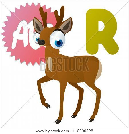 vector cartoon comic animals ABC for kids: R is for Roe / Illustration for apps, books, stickers, badges or games