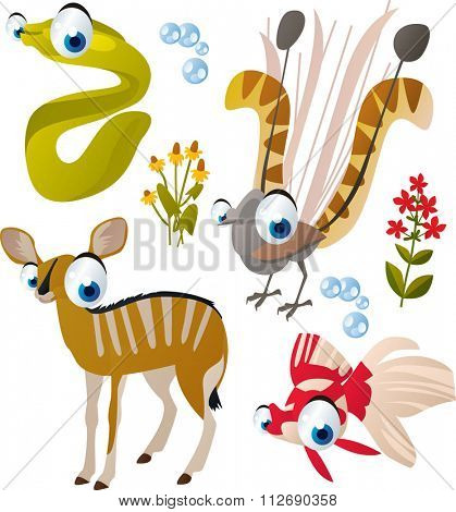 vector collection of comic cartoon styled animals for children. Set of Moray, lyre bird, antelope and goldfish