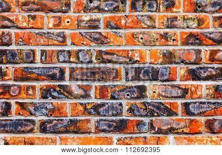 Weathered Old Red Brick Wall Texture Background