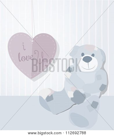 A Sweet Illustration For Valentine's Day With Teddy Bear And Love Letter, Vector