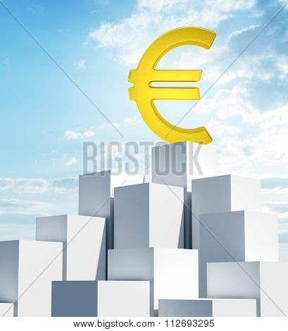 Stack of white boxes with euro sign