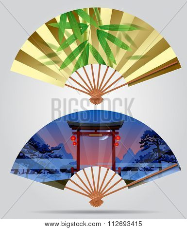 Japanese and chinese fans with bamboo and landscape with a gate. Vector illustration