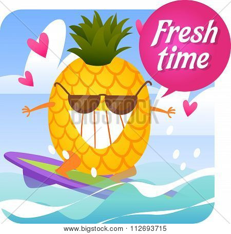 Fresh fruit. Summer time.Vector illustration.