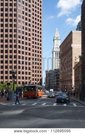 USA, BOSTON -?? 05 SEP, 2014: Cityscape of Custom House Tower at autumn sunny day.