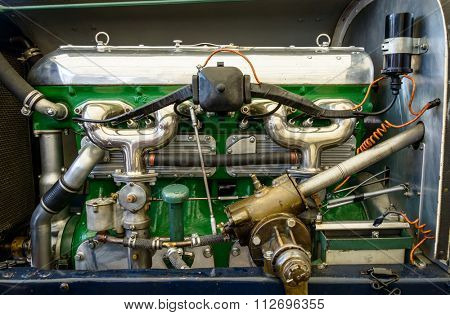 Vintage car engine closeup