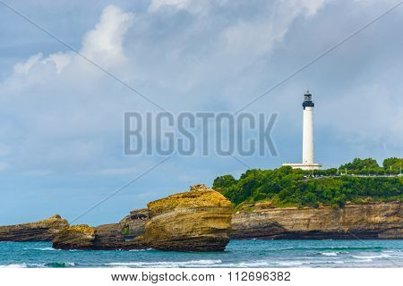 Biarritz lighthouse by a cloudy day, France