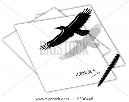 Freedom Concept By Bird Flying Over The Paper