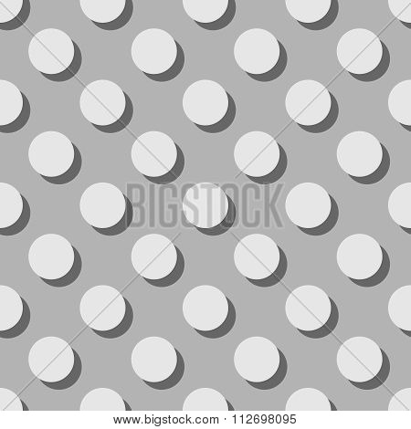 Tile grey vector pattern with polka dots