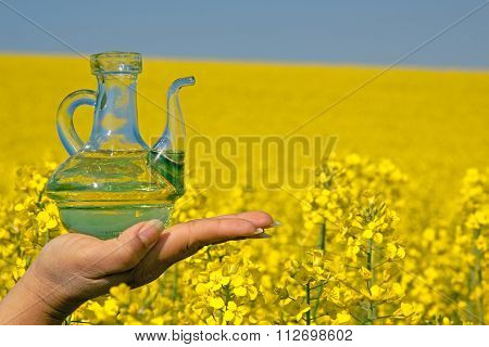 Rape oil into a glass bottle in front of blossoming rape field