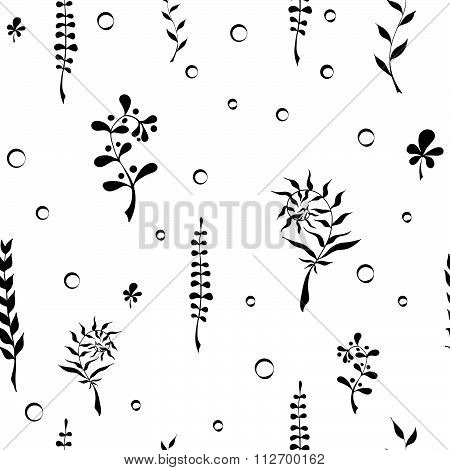 Seamless pattern with hand drawn wild herbs - ferns, mistletoe, lupine. Vector, EPS 10.