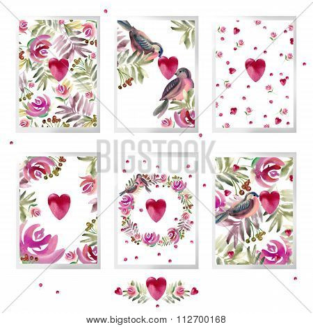 Valentines day set. watercolor flowers, red heart, cute bird, roses flower. watercolor floral natura