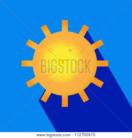Sun logo icon with long shadow. Sun, summer, nature, sky