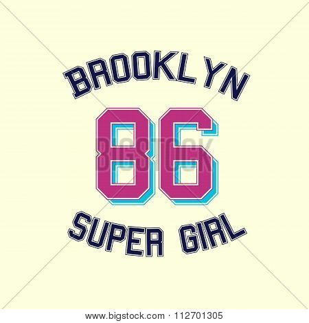 super girl typography, t-shirt graphics.
