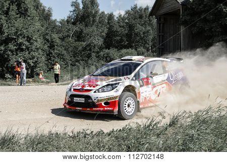 South Estonia., Estonia, 18 July 2010: Prokop Martin  Drift At Ford Fiesta S2000 In Mad Crocc Rally