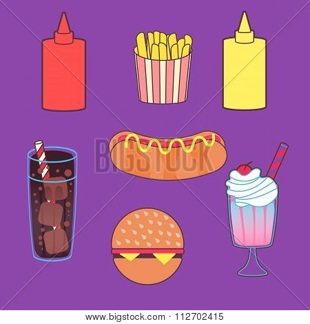 Vector illustration set of food