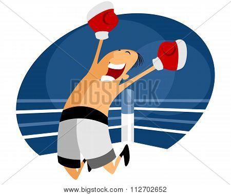 Jumping Boxer In White Shorts