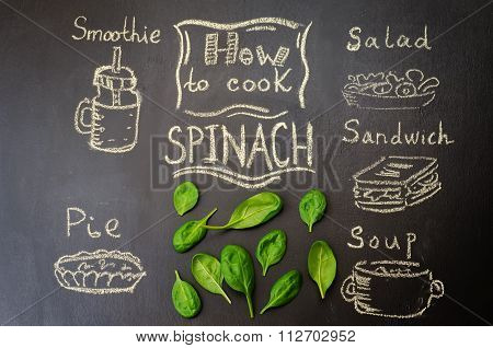 how to cook spinach with spinach on the chalkboard