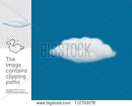The illustration of the fluffy cloud in the blue sky.  A part of Dodo collection - a set of educational cards for children. The image has clipping paths and you can cut the image from the background.