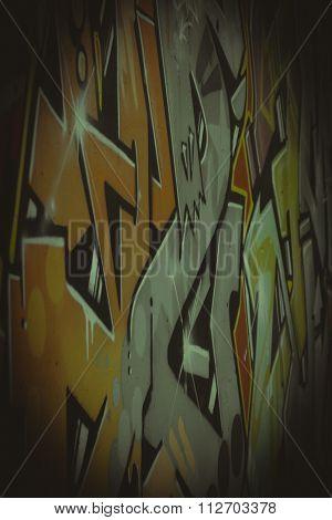 drawings on a wall, segment of a graffiti
